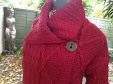 RED ARAN SWEATER MARKET IRELAND SINGLE BUTTON MERINO Cardigan size S (10/12)