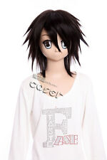 W-303 Death Note L Cosplay Parrucca Wig NERO BLACK 41cm calore fisso MANGA ANIME