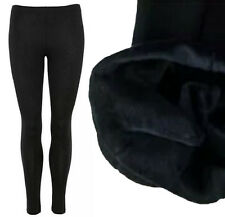 NEW WOMENS BLACK FLEECE LINED FULL LENGTH LONG THERMAL STRETCHY LADIES LEGGINGS