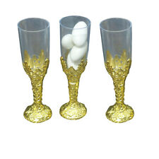"24 Plastic cup candy holder favor 4"" tall mini flute like shape - gold"