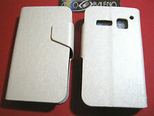 CUSTODIA COVER ECO PELLE Per ALCATEL OT S'POP 4030D Flip Stand BIANCO ONE TOUCH