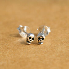 925 Sterling Silver Earring Tiny Skull Cartilage Stud Unisex Helix Skeleton post