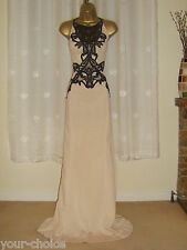 FAB CREAM BLACK LACE MAXI EVENING PARTY DRESS SIZE 12 14 NEW