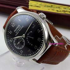 Parnis 43mm black dial date power reserve Seagull 2530 Automatic men's watch 207