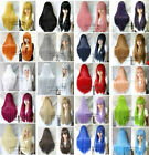 80CM Halloween Cosplay long straight hair wig new fashion multicolor can pull