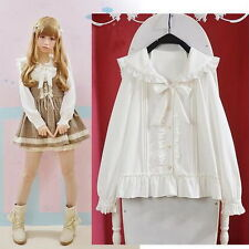 Cute Womens Lolita Falbala Collar Blouse Navy style Bowknot Lovely White Shirt C