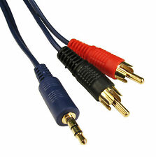 50cm GOLD 3.5mm BLUE mini Jack to 2x RCA Twin Phono Adapter PC to TV .5m