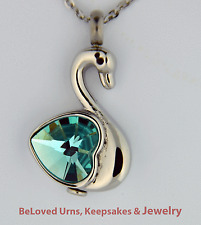 Swan With Blue Heart Cremation Jewelry Pendant  Keepsake Urn w/ Necklace, Funnel