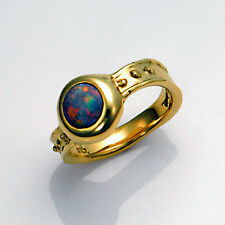 STUNNING DeSantis 14kt Yellow Gold Australian Opal Ring Size 5.5 Made in USA
