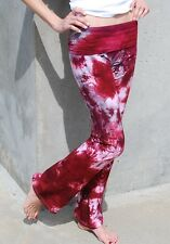 Burgundy Tie Dye Yoga Pants Hand Dyed in the US All Sizes available XS-3XL