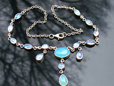 """NICKY BUTLER STERLING AQUA CHALCEDONY  &  MOONSTONE NECKLACE 18"""" 23G"""