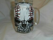 HAND PAINTED  BASEBALL SUGAR SKULL SET OF 2 HANDLED PINT  MASON JAR GLASS