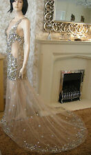 10 A STAR IS BORN EMBELLISHED ILLUSION FISHTAIL MAXI DRESS JEWELS VINTAGE TRAIL
