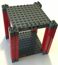*NEW* 2 Pieces Lego OLD DARK GRAY 12X12 BASE with 4 Pieces RED SUPPORT 2x2x8