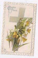Antique db Tuck Easter Post Card Daffodils and Cross Silver Foil