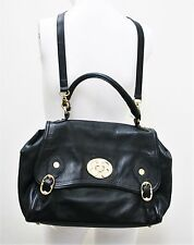 EMMA FOX CLASSICS HANDBAG  BLACK LEATHER FLAP SATCHEL LARGE TURNLOCK PURSE BAG