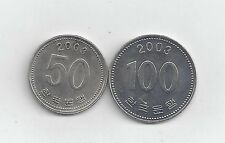 2 DIFFERENT COINS from SOUTH KOREA - 50 & 100 WON (BOTH DATING 2003)