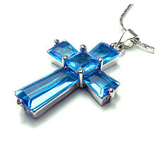 White Gold Plated Swarovski Elements cross Pendant Necklace Chain For Dress