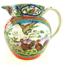 C1820 ANTIQUE PEARLWARE TRANSFERWARE JUG DECORATED WITH CHICKENS HAND COLOURED