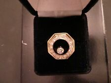 Men's Black Onyx Floating Genuine Diamond  S&M 14 KP Yellow Gold  Ring Size 8