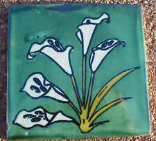 "10~Talavera Mexican 4"" tile pottery Flower CALLA LILY Green Blue white Easter"