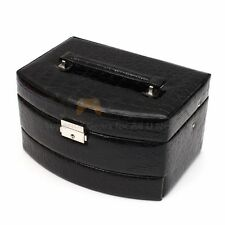 Black Jewelry Box Storage Organizer Case Ring Earring Necklace Mirror Leather