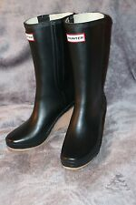 Hunter Jessica Wedge Rain Boots Wellies Black and Natural Women's 7