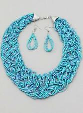 Multi Strand Turquoise Blue Glass Seed Bead Braided Necklace Earring Set