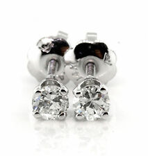 0.26 CT Natural round brilliant cut diamond stud earrings SI2/G 14K white gold