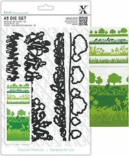 PAPERMANIA XCUT A5 DIE SET ENGLISH COUNTRYSIDE BORDERS 4 DIES UNIVERSAL FIT -NEW