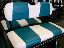EZ-GO RXV Golf Cart Custom Deluxe Seat Covers-Front and Rear (White/Teal)