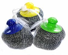 Kitchen Utensil Steel Scrubbers with Holder - 3 pcs + 3 ( G61)