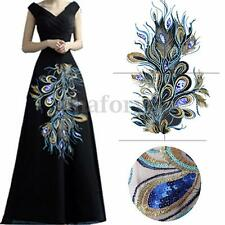 Large Embroidered Peacock Blue Gold Sequins Trimming Floral Applique Lace Motif