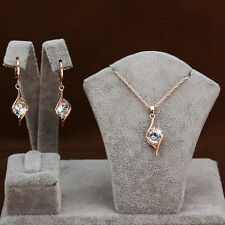 Womens 18K Rose Gold Plated GP Rhinestone Pendant Necklace Earrings Jewelry Sets