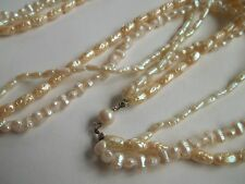 """Faux pearl necklace,28""""long,multi strand,great cnd,"""