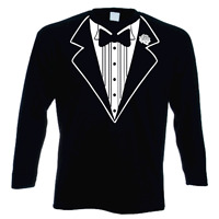 TUXEDO FUNNY LONG SLEEVED STAG FANCY DRESS PARTY T SHIRT