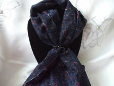 Scarf + Scarf Ring Gift Set Navy Paisley + Black & Silver Ring + Gift Bag
