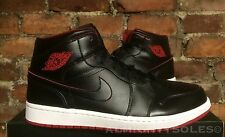 Nike Air Jordan 1 Mid UK10 EUR45 BLACK WHITE GYM RED 554724 028 BASKETBALL NBA