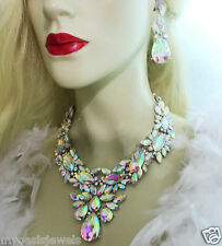 Statement Necklace Earring Set Crystal Rhinestone Bridal Pageant Prom Jewelry AB