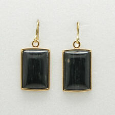 Barse Jewelry Black Green Jade Bronze Earrings