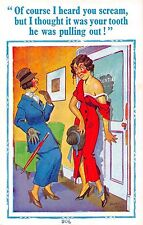 POSTCARD  COMIC  Donald  McGill   Dentist  Related   Young  Girl
