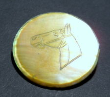 Antique mother of pearl casino/poker/gambling chip, exceptional horse engraving.