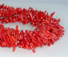 15X4-8X3MM RED CORAL GEMSTONE RED STICK LOOSE BEADS 15.5""