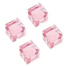 GLASS CUBE BEADS PINK COLOR FACETED SQUARE 6MM BEAD STRANDS