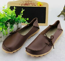 Womens Leather Comfort Casual Walking Bowed Flat Shoes Loafers Moccasin Slide