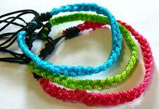 Lot de 3 Bracelets Brésiliens Amitié Friendship nylon bleu vert rose