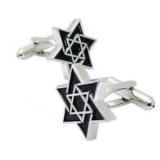 Stainless Steel & Black Enamel Star of David Cufflinks - Magen David Jewish