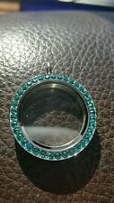 Origami Owl Large Twist Locket Face  BLUE ZIRCON Crystals RARE with silver base