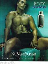 PUBLICITE ADVERTISING 065  2000  YVES SAINT LAURENT parfum homme KOUROS BODY