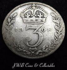 1908 Edward VII Silver Threepence Coin - Great Britain - Ref ; T/M.